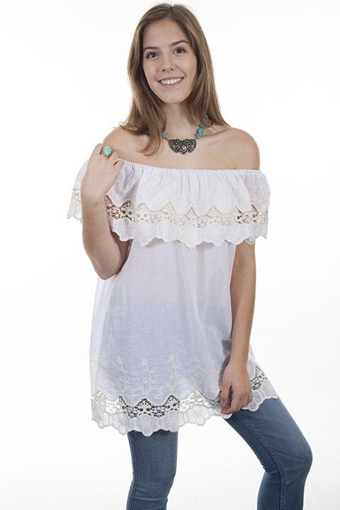 On Sale! Crochet Lace Peasant Blouse - HC431
