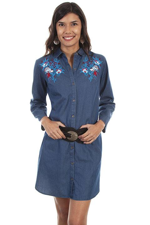 Scully Honey Creek Collection Ladies Denim Western Dress-HC468 - Blanche's Place