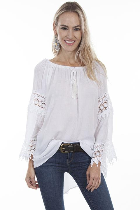 Ladies White Long Sleeve Crochet Blouse-HC252 - shop-blanches-place