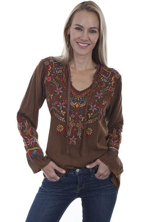 Embroidered Hippy Chic Bohemian Blouse-HC420 - Blanche's Place