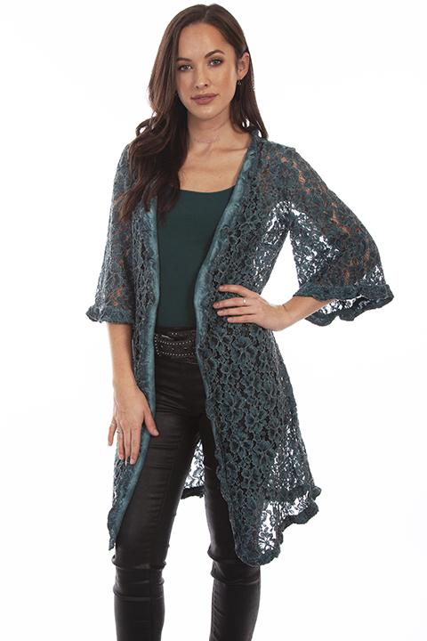 Ladies Floral Lace Western Cardigan-HC643 - Blanche's Place