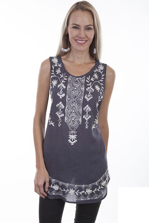Ladies Long Tank Blouse with Embroidered Designs-HC423 - Blanche's Place