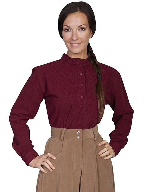 Ladies Old West Blouse with Embroidered Bib-RW578