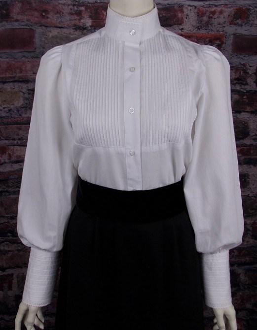 Ladies White Victorian Blouse with Lace Trim-CL442 - Blanche's Place