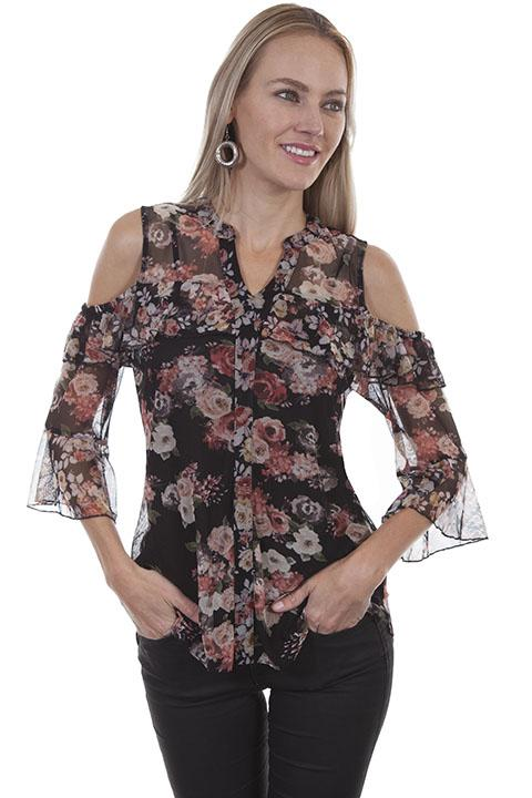 Ladies Floral Print Blouse- HC414 - Blanche's Place