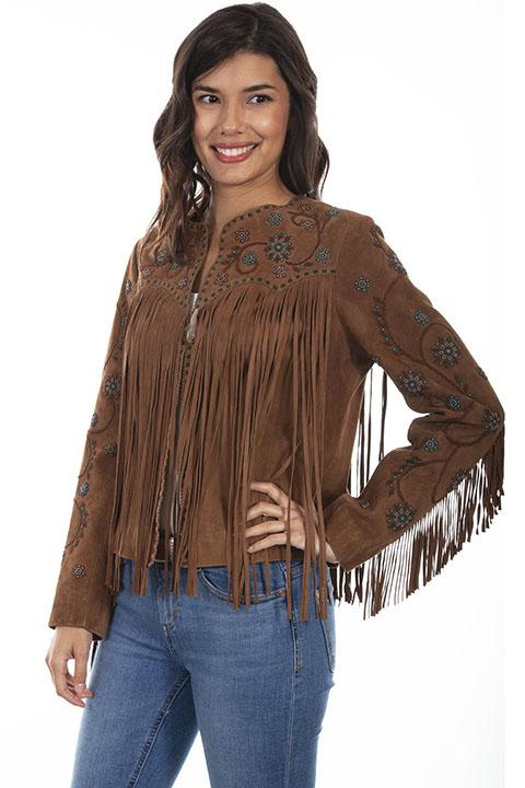 Ladies Scully Leather Western Fringe Jacket and Beaded Design-L1035 - Blanche's Place