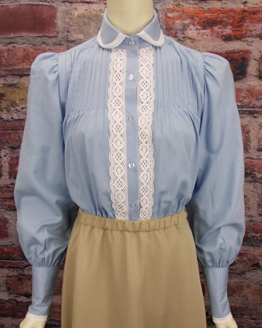 Ladies High Neck Victorian Blouse - shop-blanches-place