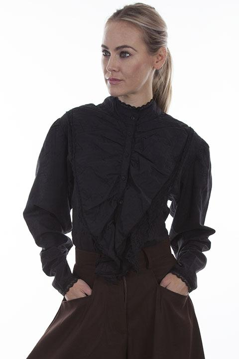 Ladies Black Victorian Blouse With Lace Ruffled Front