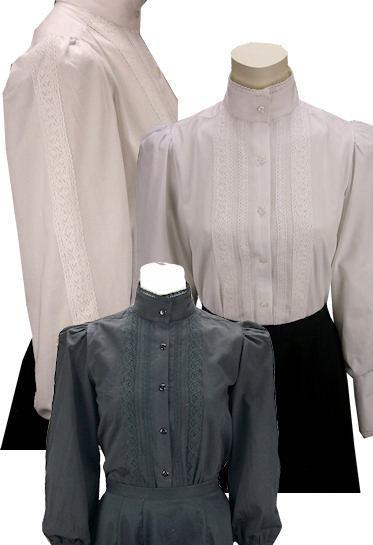 Grace Victorian Blouse With Lace Trim-CL441 - shop-blanches-place