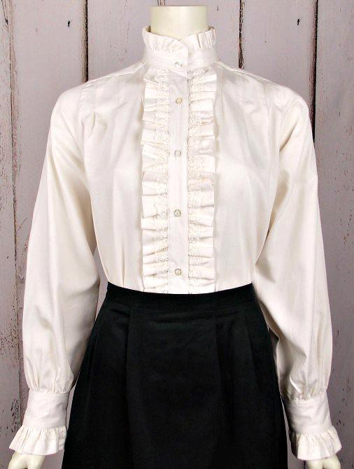 Ladies Vintage Victorian Blouse with Ruffle Front-CL439 - Blanche's Place
