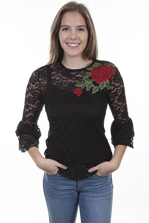 Ladies Black Lace Western Blouse with Rose Applique-HC410 - Blanche's Place