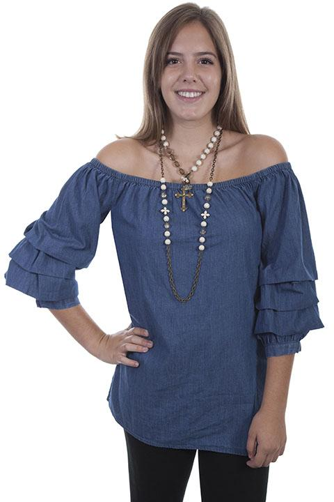 Ladies Denim Peasant Style Western Blouse-HC350 - Blanche's Place