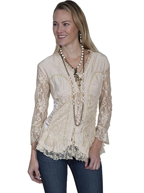 Ladies Lace Blouse With Western Inspired Design-HC244