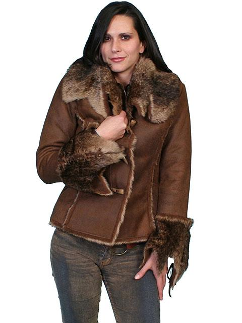 Ladies Western Faux Fur Leather Jacket With Oversized Fur Collar-8010 - Blanche's Place