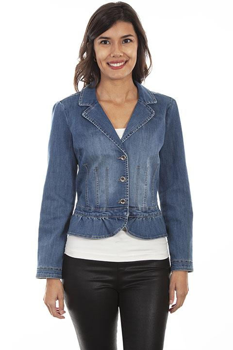 Ladies Peplum Honey Creek Western Denim Jacket-HC546 - Blanche's Place