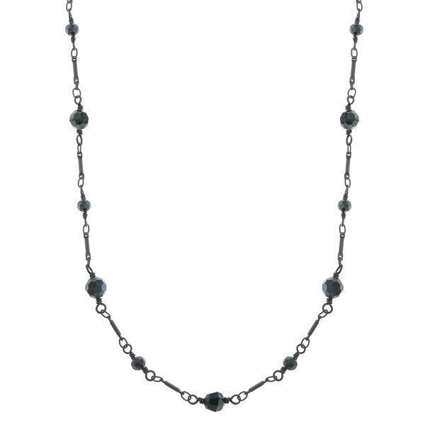Downton Abbey Inspired Opera Length Jet Black Necklace-17645 - Blanche's Place