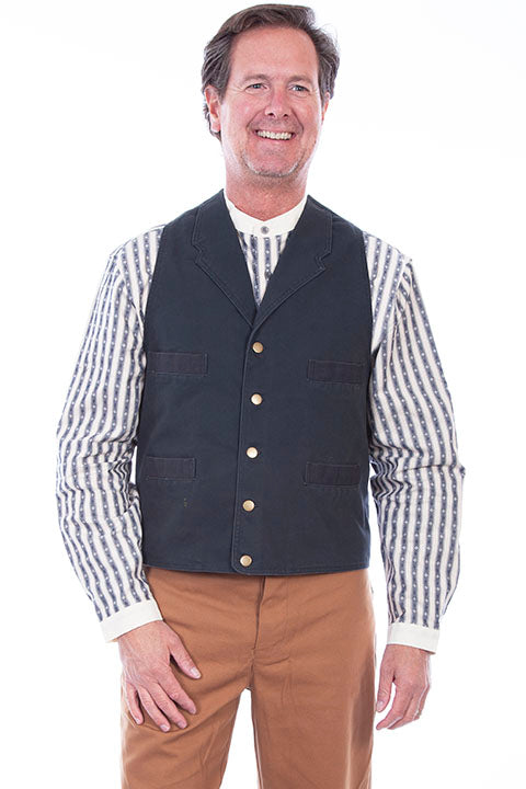 Mens Black Old West Cowboy Canvas Vest