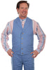 mens light blue western canvas vest