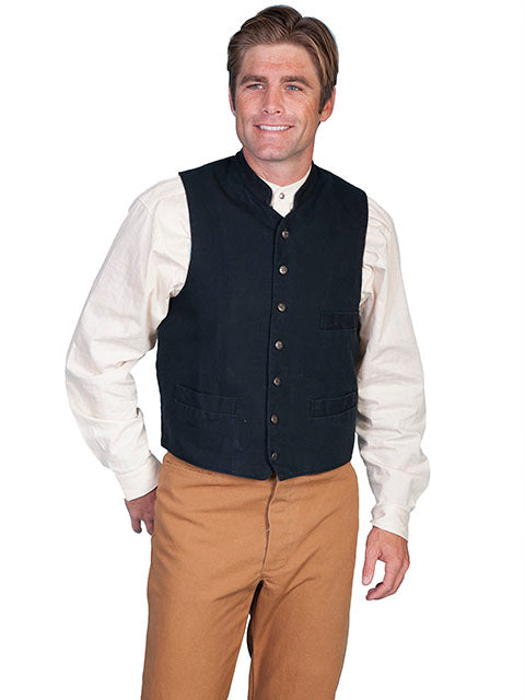 Men's Black Old West canvas vest with stand up collar