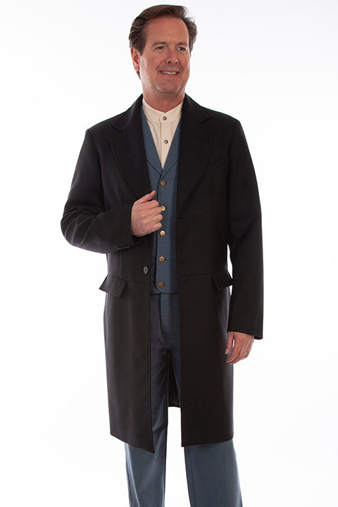 Mens Dress Victorian Old West Black Frock Wedding Coat