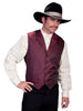 mens burgundy western vest with notched lapel
