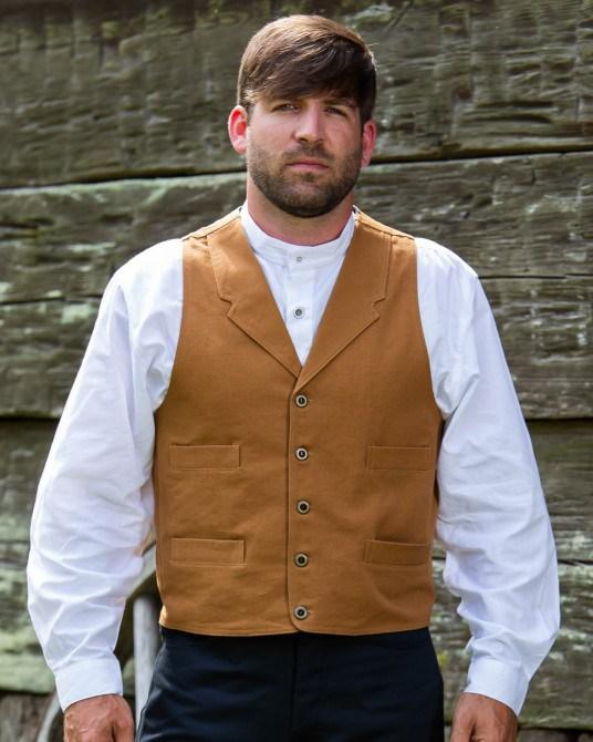Men's Frontier Old West Canvas Vest-CM60 - Blanche's Place