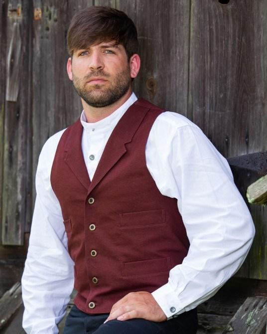 Mens Crimson 19th Century Canvas Frontier Vest