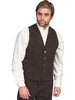 dark brown old west canvas western cowboy vest