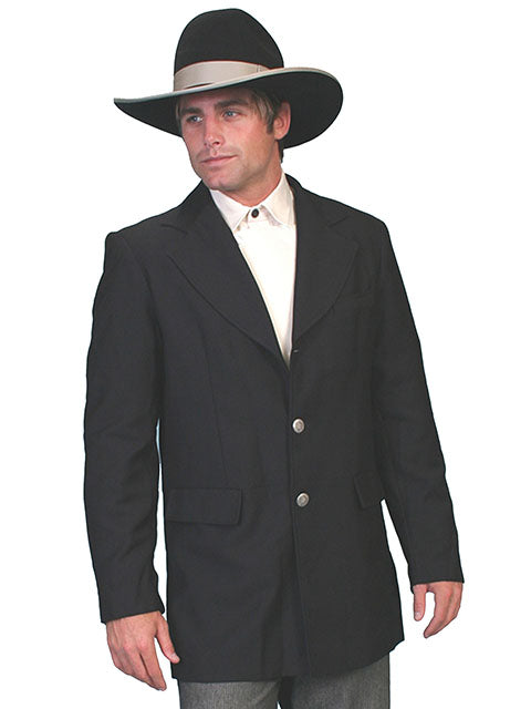 Mens Black Old West Victorian Steampunk Town Coat