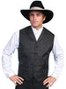men's black western vest with notched lapel