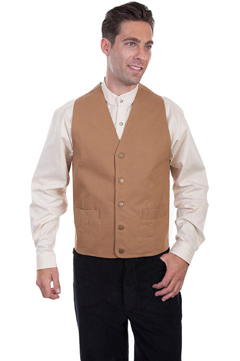 Mens Tan Cowboy Canvas Vest