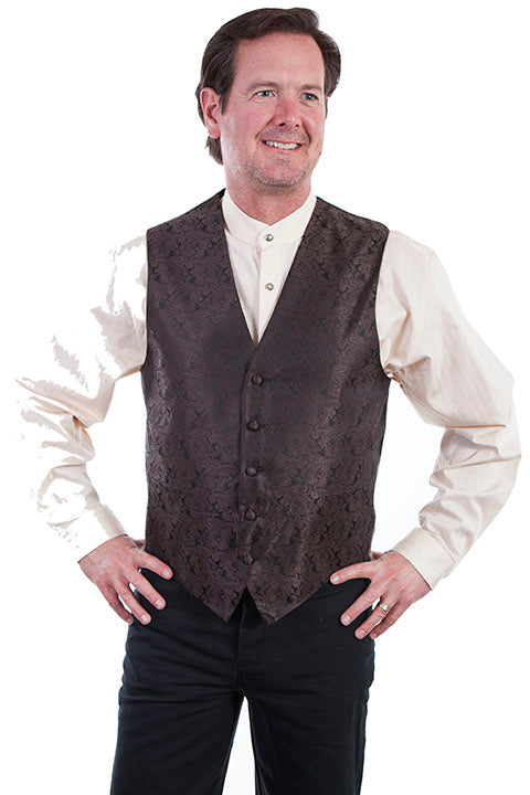 Mens Brown Scully Vest with Paisley Print