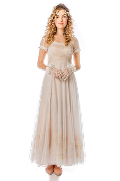 Romantic Vintage Inspired Ivory Lace Dress-40823