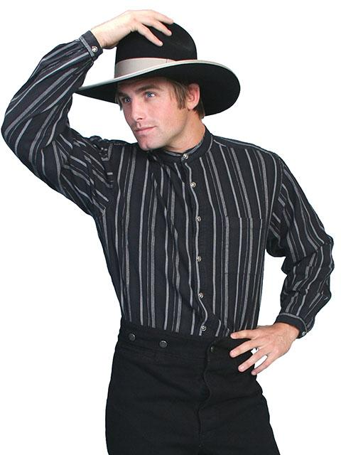 Classic Men's Old West  Striped Shirt with Banded Collar-RW025 - Blanche's Place