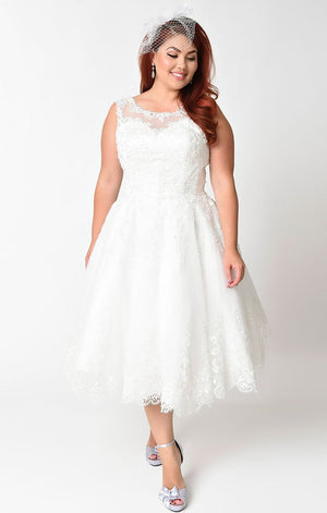 d7ea22976 ... 1950's Ivory Lace and Tulle Inspired Wedding Dress-Riviera - Blanche's  Place. Previous; Next
