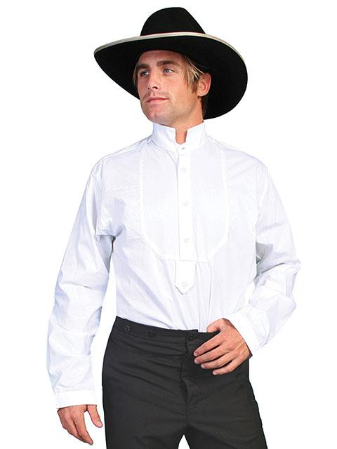 Mens Old West  White Wedding Dress Shirt with Inset Bib-RW155 - Blanche's Place