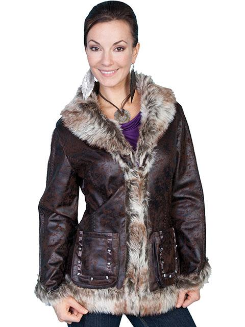 Ladies Western Coat with Faux Fur Trim and stud embellishments-8013 - Blanche's Place