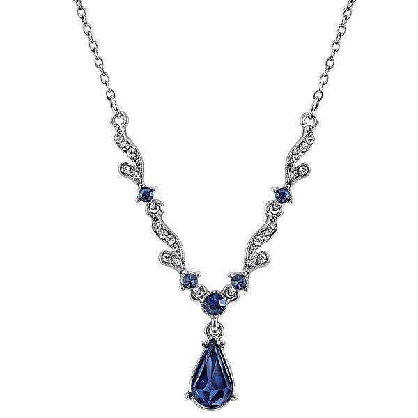 Downton Abbey Silver Tone Blue Crystal Necklace-17508 - Blanche's Place