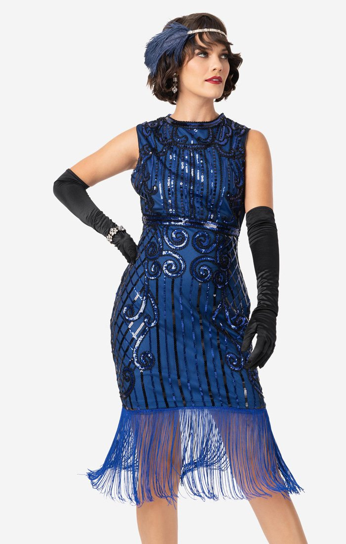 Sapphire Blue 1920's Beaded Flapper Dress-Avignon - Blanche's Place