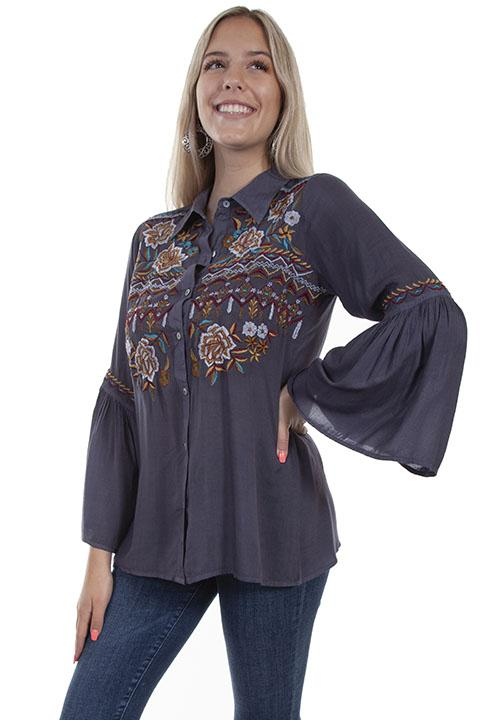 Honey Creek BOHO Chic Western Embroidered Blouse with Bell Sleeves-HC631 - Blanche's Place