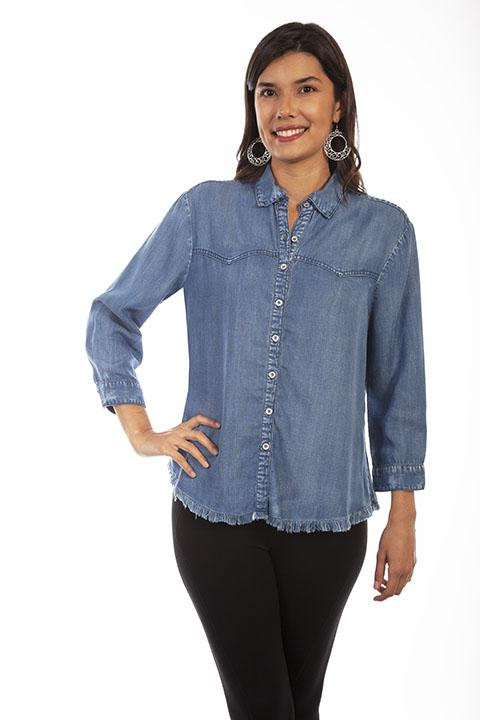 Honey Creek Cotton Denim Shirt with Frayed Hem-HC645 - Blanche's Place