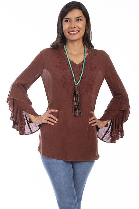 Ladies Honey Creek Boho Chic Embroidered Western Tunic -HC646 - Blanche's Place