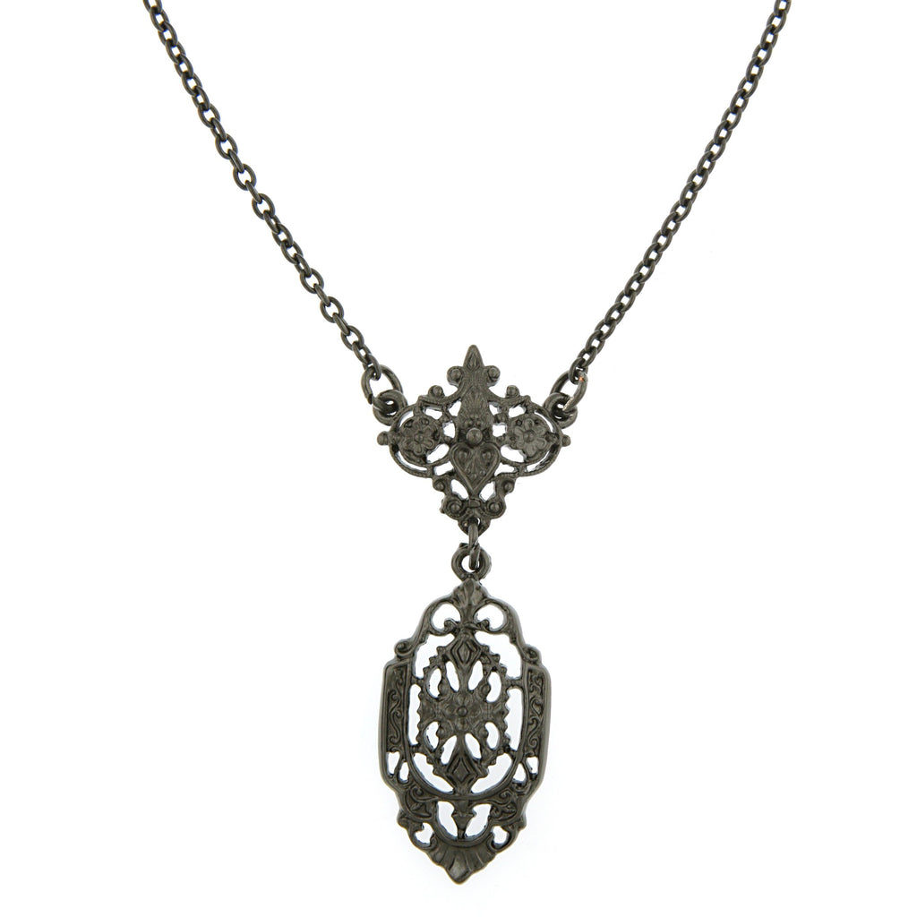 Vintage Inspired Elegant Black Filigree Necklace-17523 - Blanche's Place