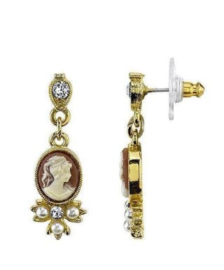 Vintage Inspired Victorian Cameo Earrings-16151 - Blanche's Place