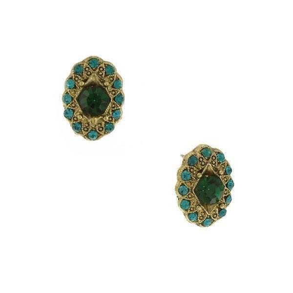 1928 Vintage Inspired Blue and Green Button Earrings-24303