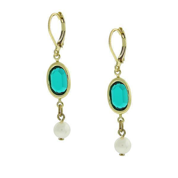 1928 Vintage Inspired Green and White Drop Earrings-81656