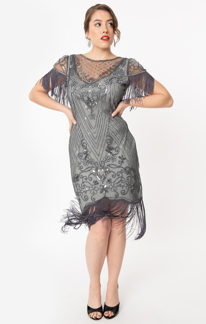 Grey Vintage Inspired 1920s Great Gatsby Beaded Flapper Dress