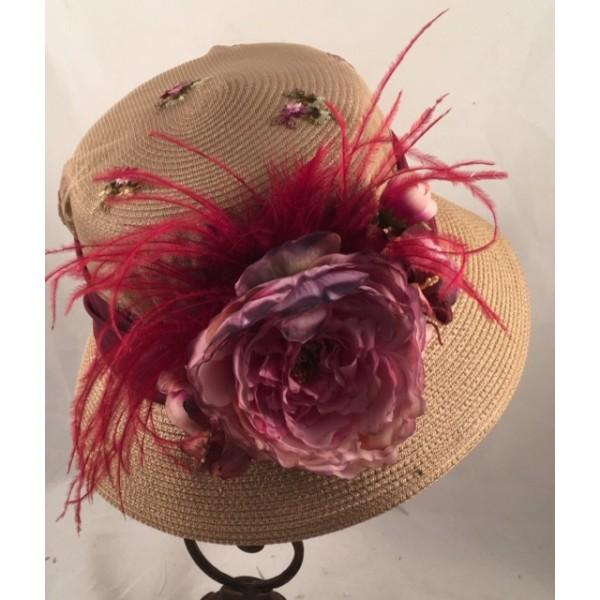 1920s Vintage Inspired Cloche Hat with Burgundy Accents-9028 - Blanche's Place