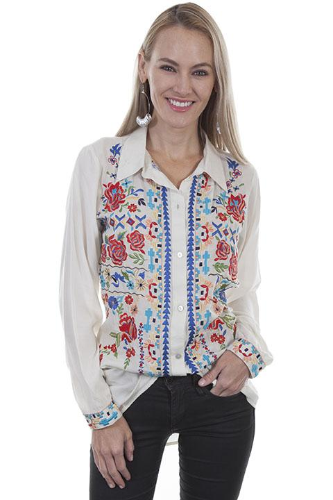 Western Peasant Blouse with Folk Embroidery-HC418