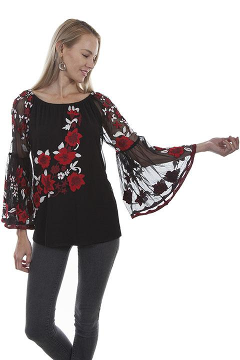 Ladies Western Inspired Blouse with Embroidery-HC416 - Blanche's Place